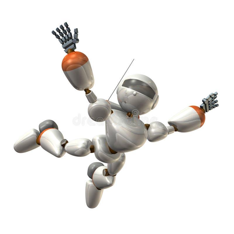 Robot aan vrije daling royalty-vrije illustratie