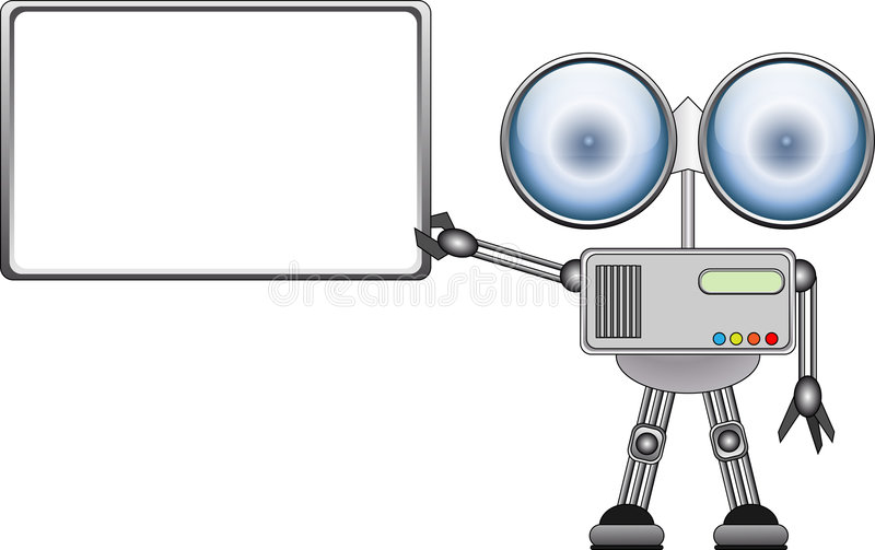 Robot with ad board royalty free illustration