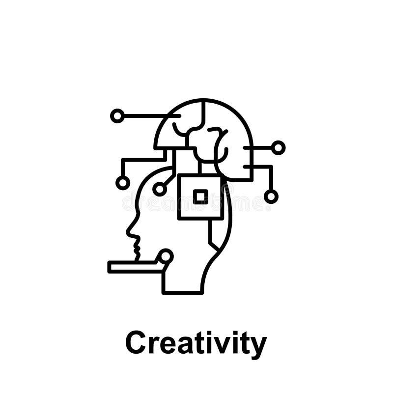 Robot, ai, móżdżkowa ikona Element kreatywnie thinkin ikony witn imię Cienka kreskowa ikona dla strona internetowa projekta i roz ilustracji