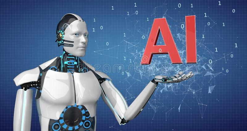 Robot AI Network. A white robot with the text AI on the blue background with a network royalty free illustration