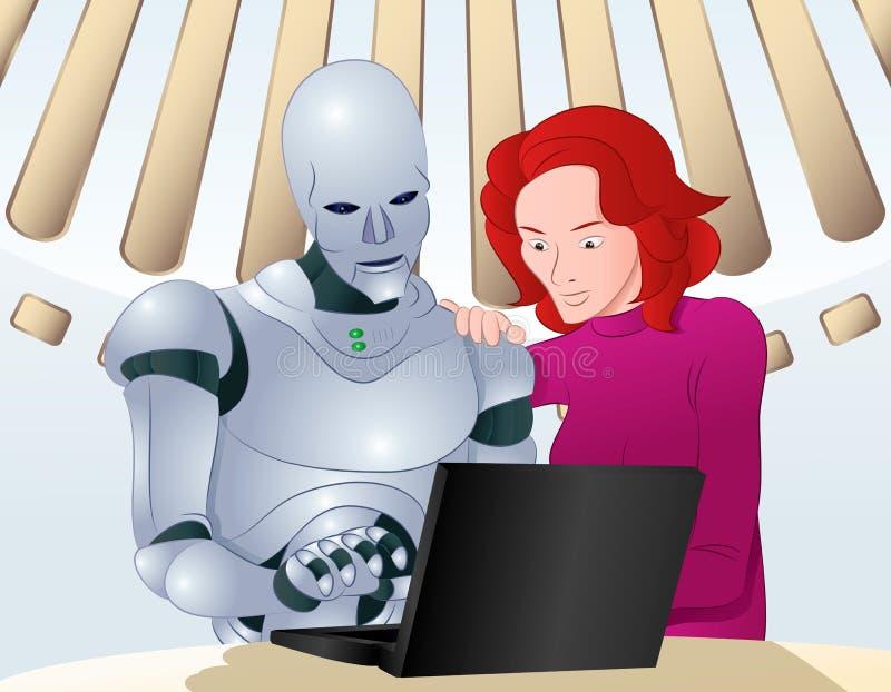 Robot aidant sur le problème d'ordinateur portable illustration libre de droits