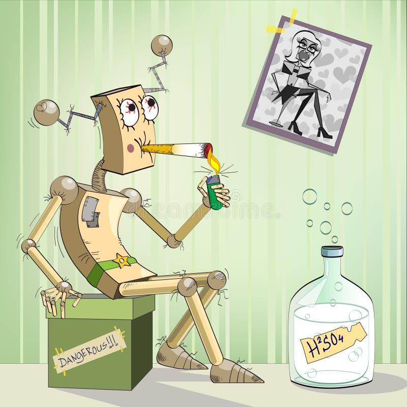 Robot-alcoholisch stock illustratie