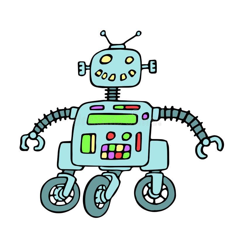Robot allegro sull'illustrazione di vettore delle ruote royalty illustrazione gratis