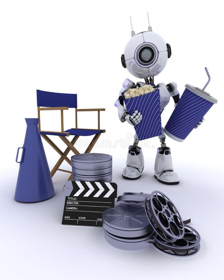 Robot als directeurenvoorzitter met megafoon stock illustratie