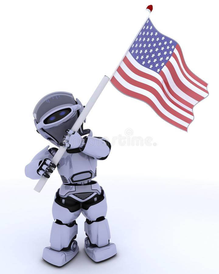 Robot With American Flag Royalty Free Stock Images