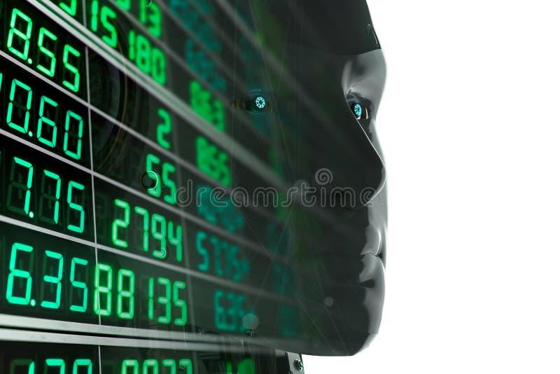 Robot analizuje rynek papierów wartościowych royalty ilustracja