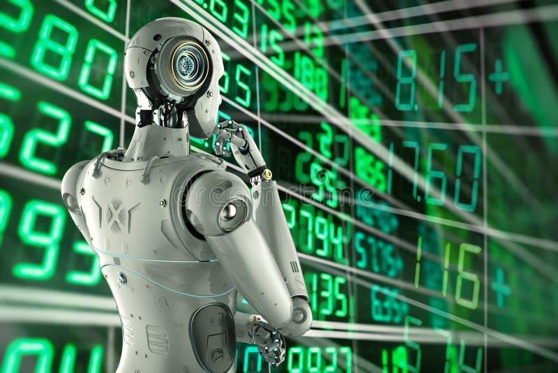 Robot analizuje zapas ilustracja wektor