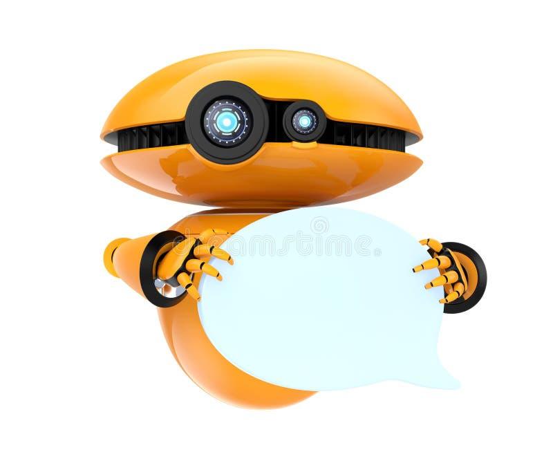 Robot anaranjado que lleva a cabo la burbuja en blanco de la charla en el fondo blanco stock de ilustración