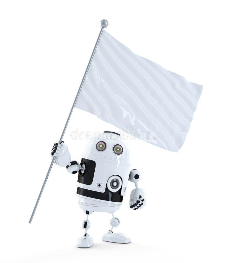 Robot androïde avec le drapeau de ondulation vide blanc illustration libre de droits