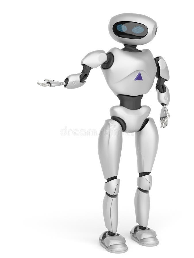 Robot androïde moderne sur un fond blanc rendu 3d illustration libre de droits