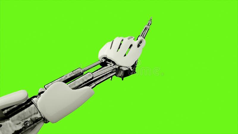 Robot androïde persen de sleutels Realistisch voorzag motie op groene het schermachtergrond van een lus het 3d teruggeven vector illustratie