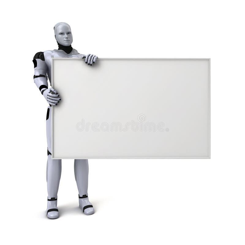 Robot androïde retenant le signe blanc illustration libre de droits