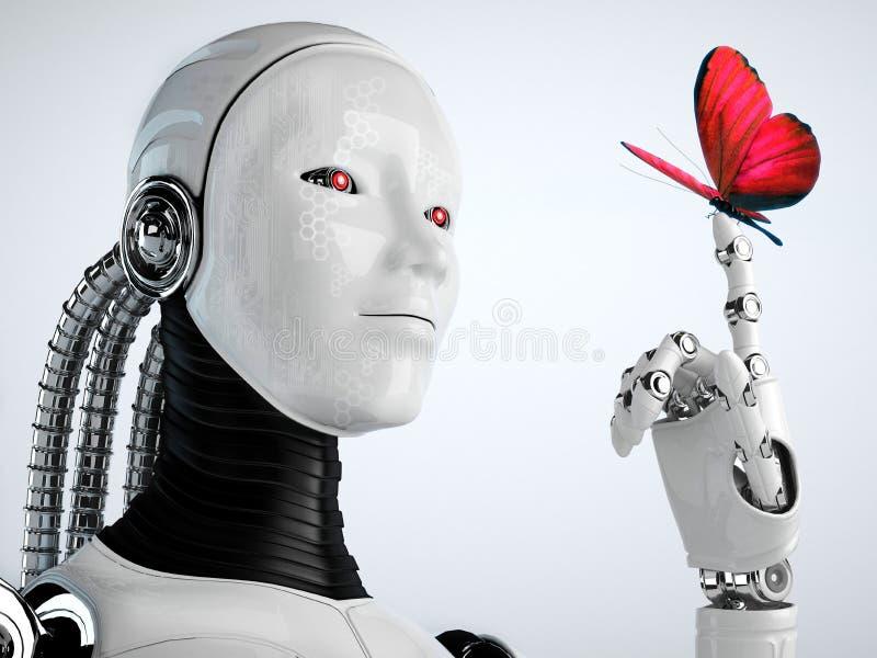 Robot androïde vrouw met vlinder