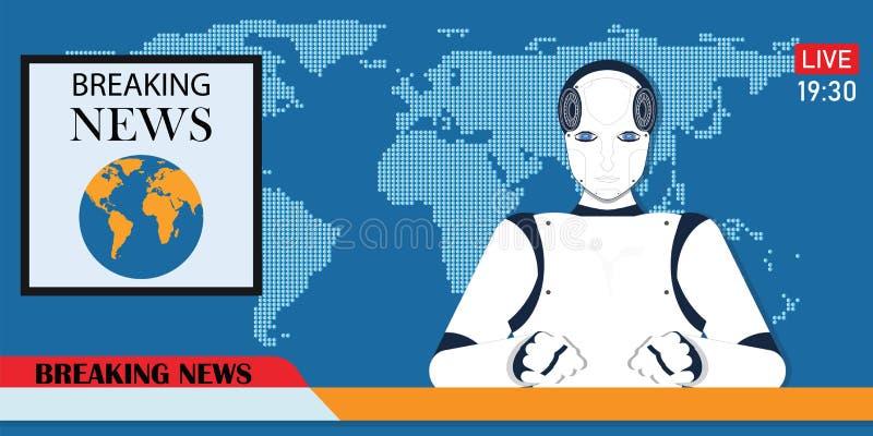 Robot Android ?ama gor?cej wiadomo?ci kotwic? lub cyber newscaster ilustracja wektor