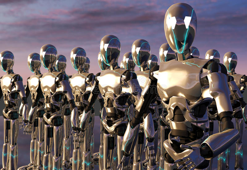 Robot android army. An army of robots activated themselves ready to follow the leader's command stock photography