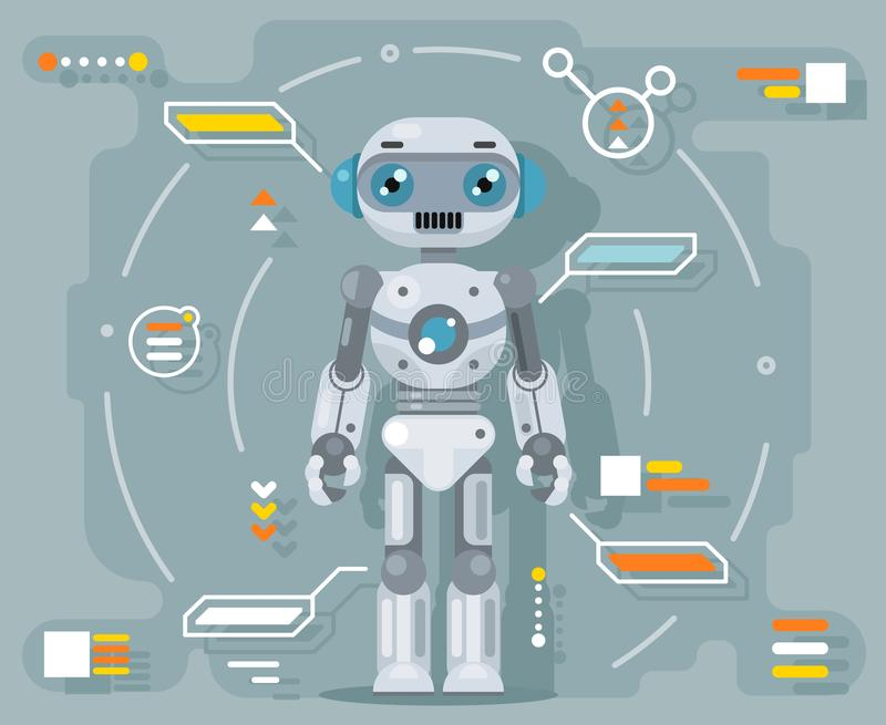 Robot android artificial intelligence futuristic information interface flat design vector illustration. Robot android artificial intelligence futuristic stock illustration