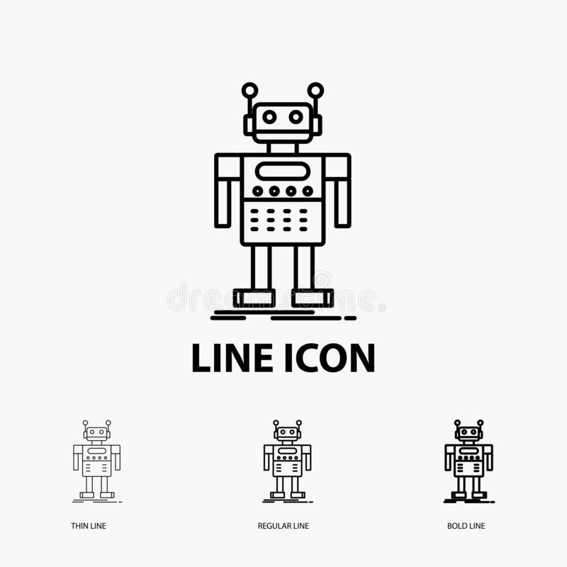 robot, Android, artificiale, bot, icona di tecnologia nella linea stile sottile, regolare ed audace Illustrazione di vettore illustrazione di stock