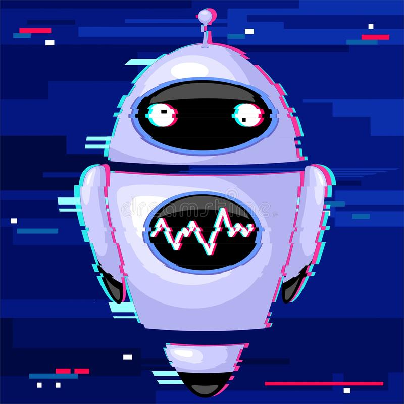 Robot Android Glitch Effect Distorted vector illustration