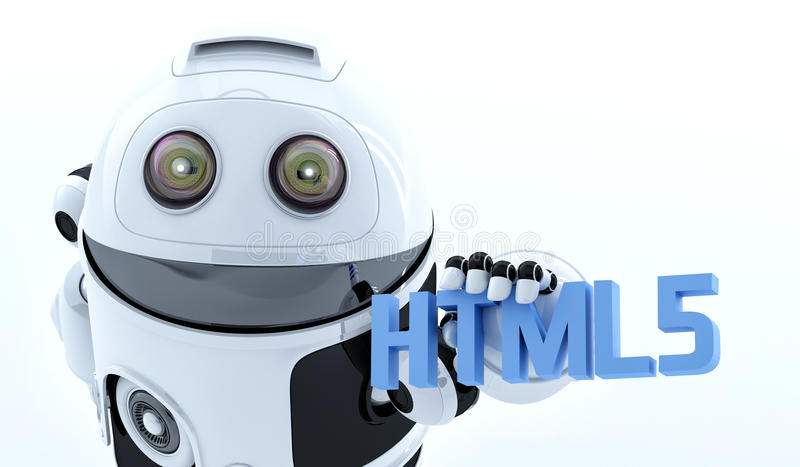 Robot android holding html5 sign. Rendered on white background stock images