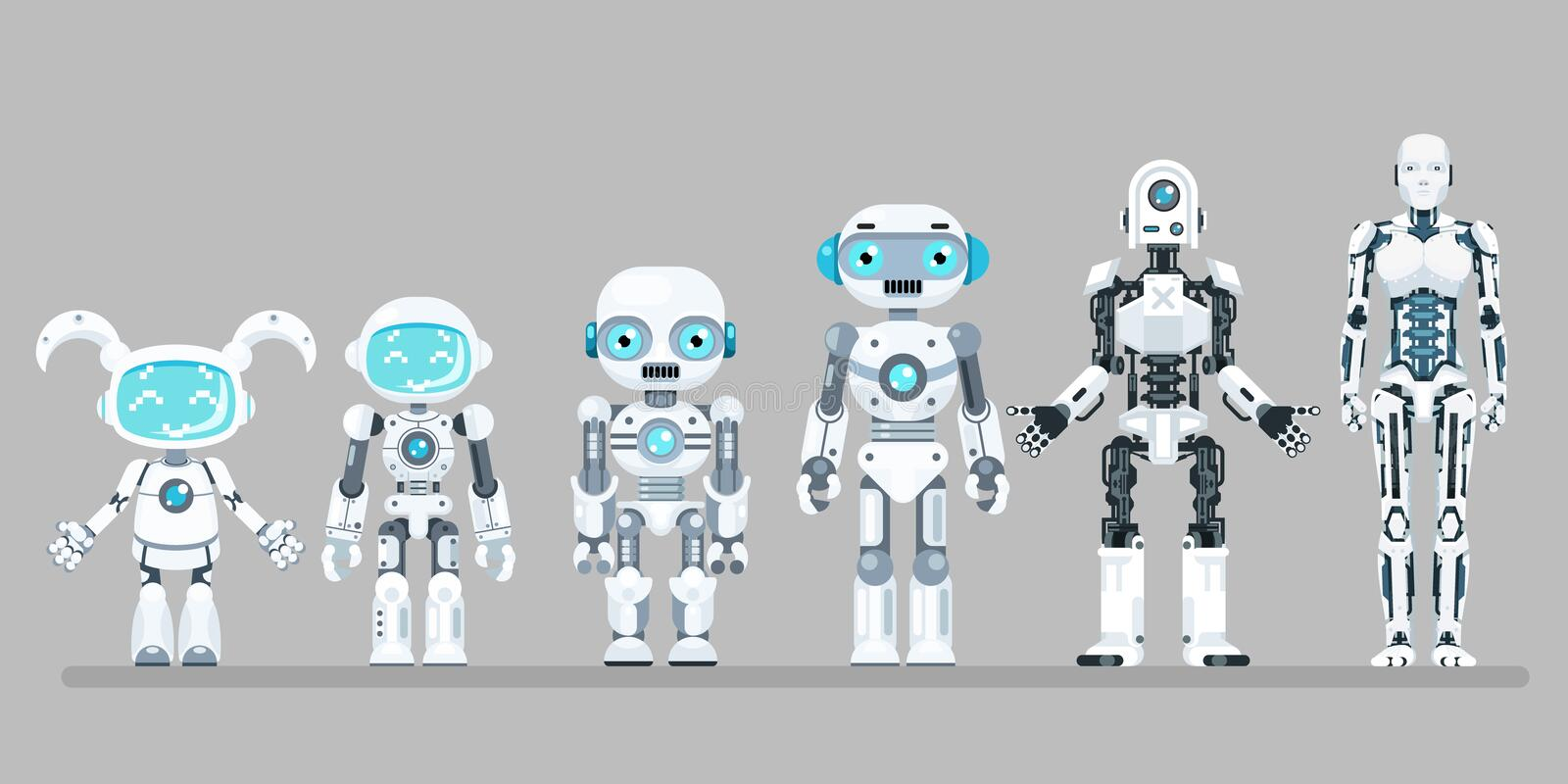 Robot android innovation technology science fiction future flat design icons set vector illustration. Robot android innovation science technology fiction future stock illustration