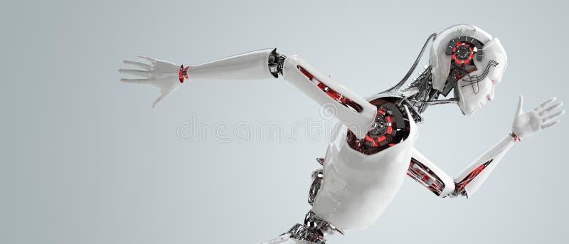 Robot android men running stock illustration