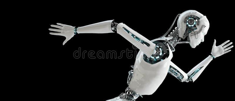 Robot android men running. Speed concept vector illustration