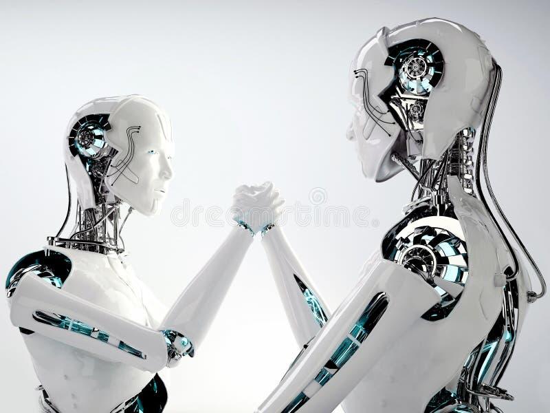 Robot android men team work. Robot android men in team work stock illustration