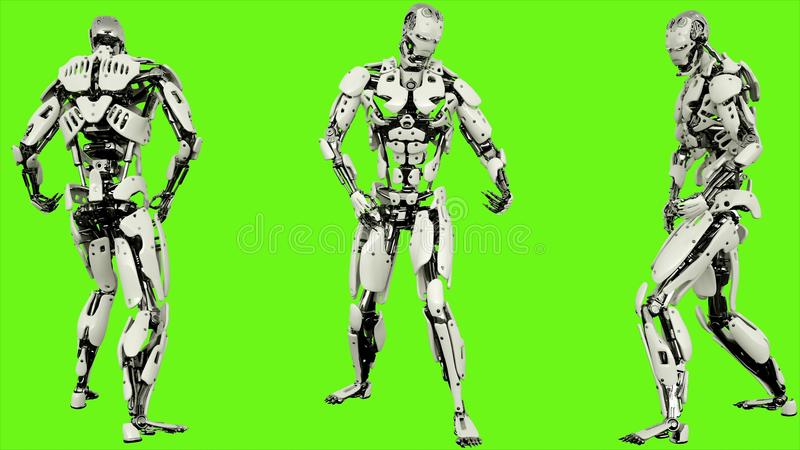 Robot android is playing guitar. Realistic looped motion on green screen background. 3D Rendering. stock illustration