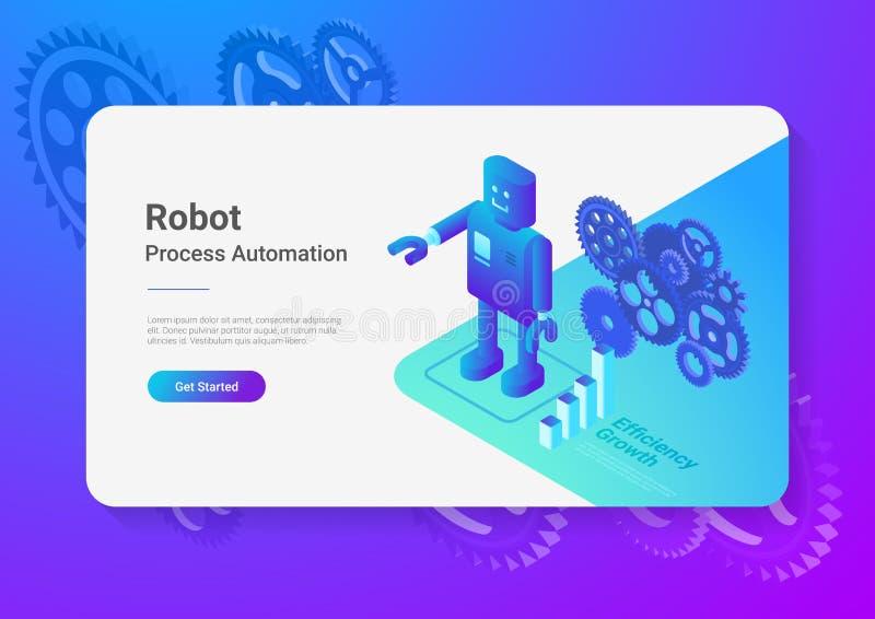 Robot Android retro Flat Isometric. Automation Tec stock illustration