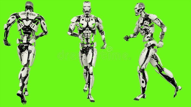 Robot android running. Realistic motion on green screen. 3D Rendering. royalty free illustration