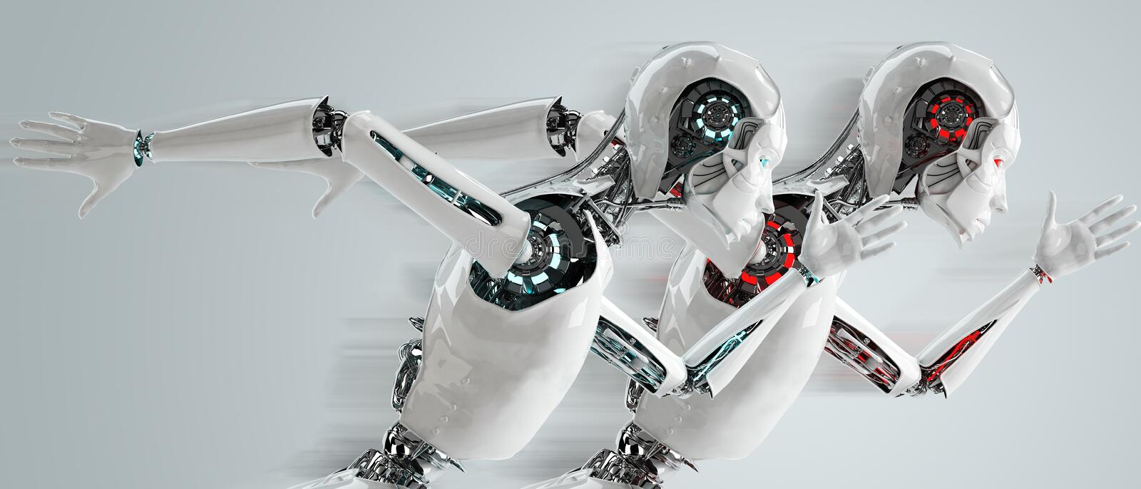 Robot android running. Speed concept stock illustration