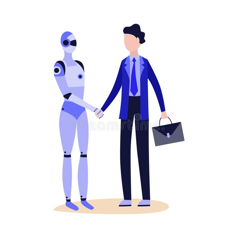 Robot android shaking hand to businessman flat vector illustration isolated. vector illustration