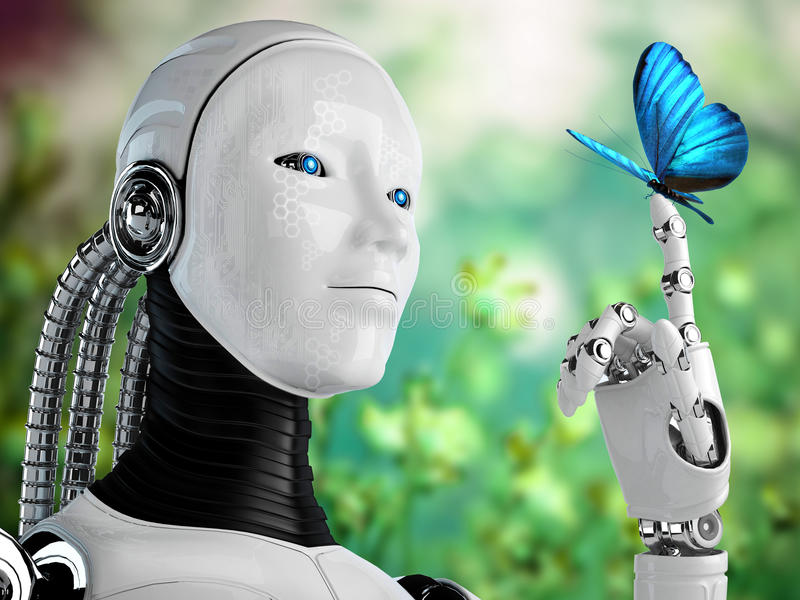 Robot android woman with butterfly in nature stock illustration