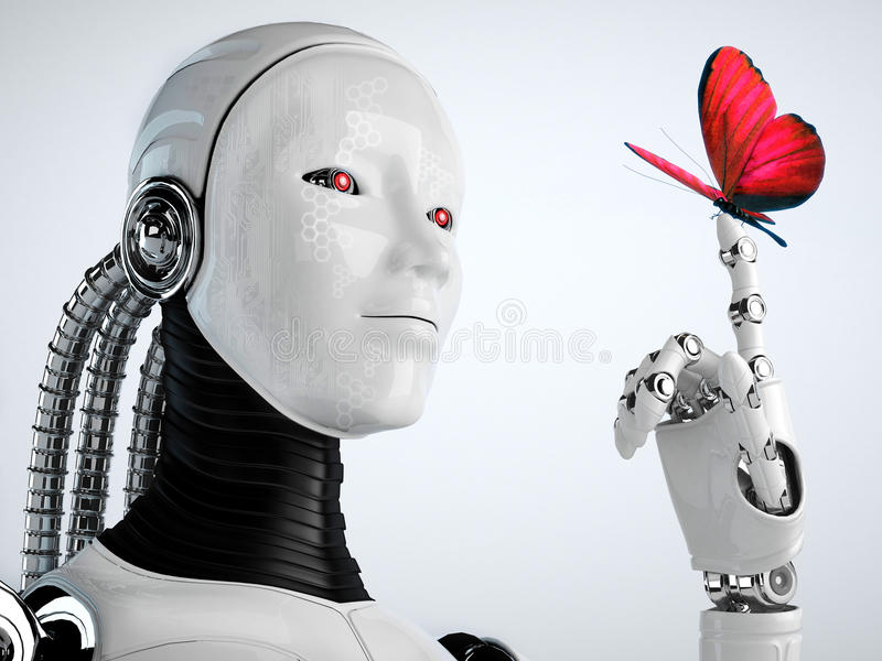 Robot android woman with butterfly stock illustration