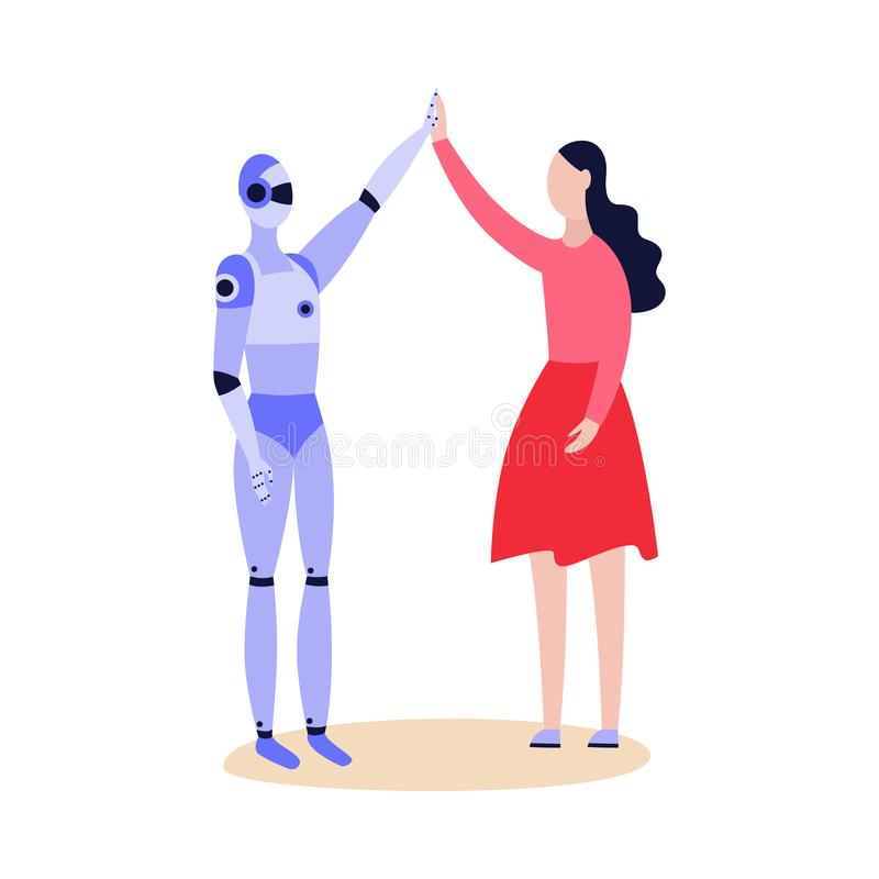 Robot android and woman friendly greeting flat vector illustration isolated. royalty free illustration