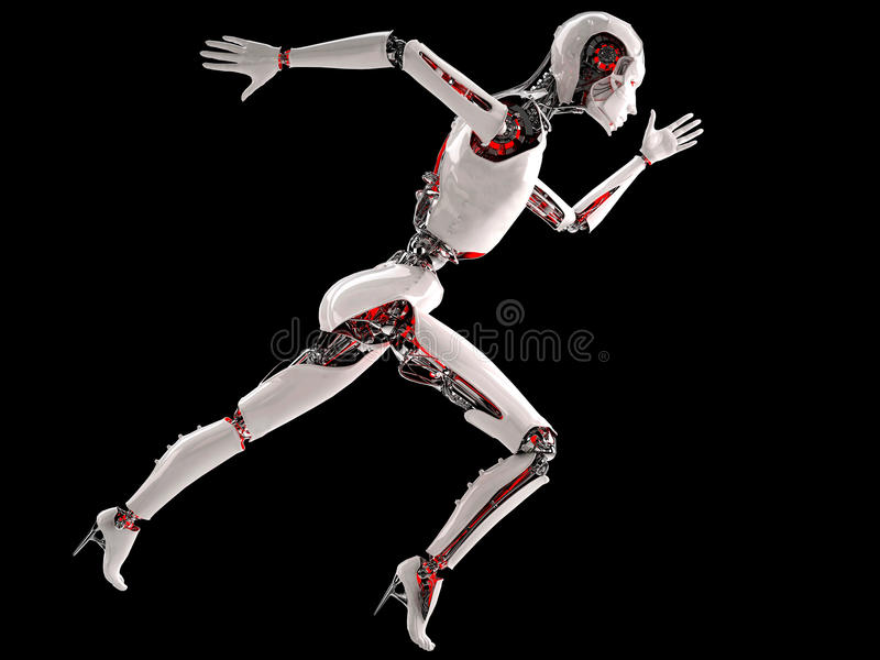 Robot android woman running. Speed concept stock illustration