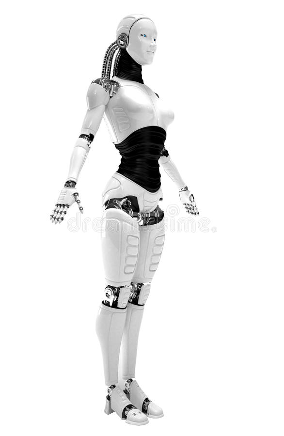Robot android women. Isolated on background royalty free illustration