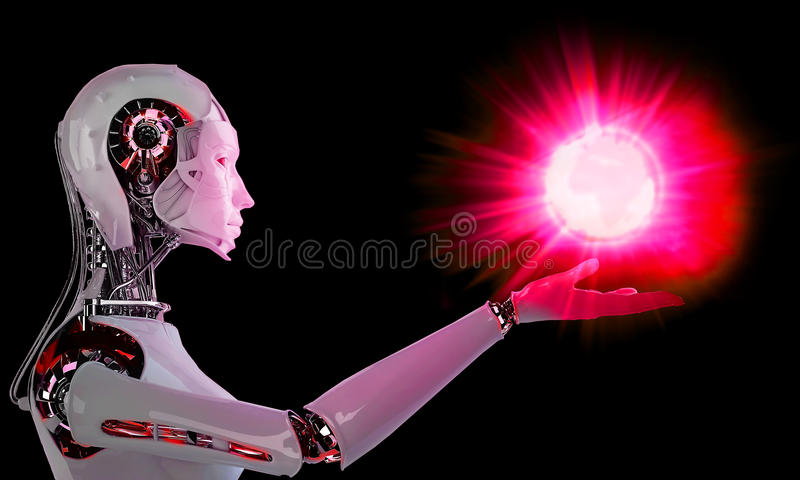 Robot android women with light. Robot android women with red light royalty free illustration
