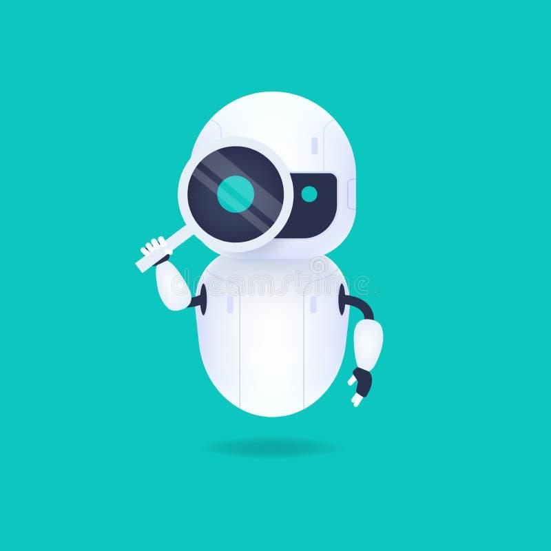 Robot androide blanco amigable mirando a través de la lupa Buscar conceptual libre illustration