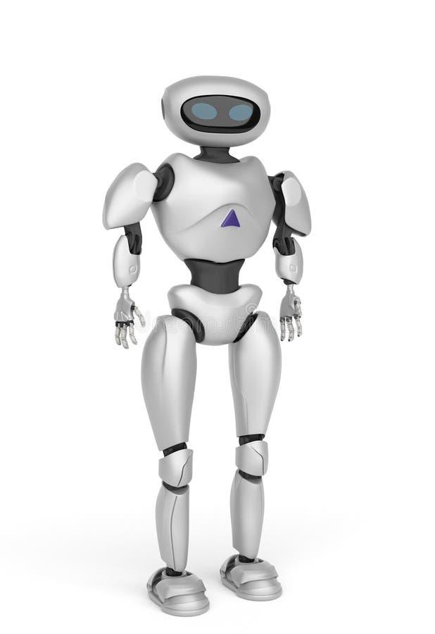 Robot androide moderno en un fondo blanco representación 3d stock de ilustración