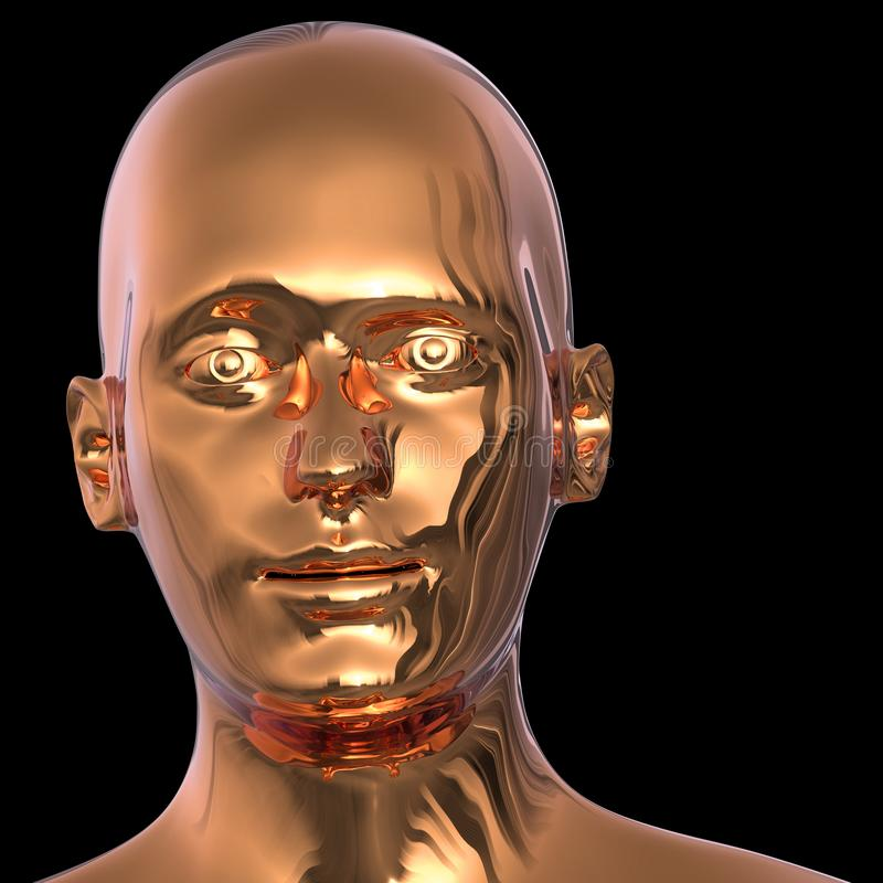 Robot androide ojos de cabeza dorada cara ojiva hierro pulido sólido ilustración del vector