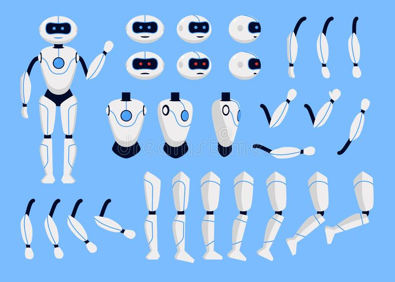 Robot Animation Set on a Blue. Vector royalty free illustration