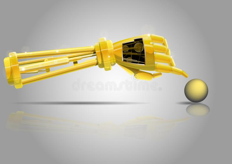 Robot arm . The robot`s Golden hand reaches for the yellow ball. stock illustration