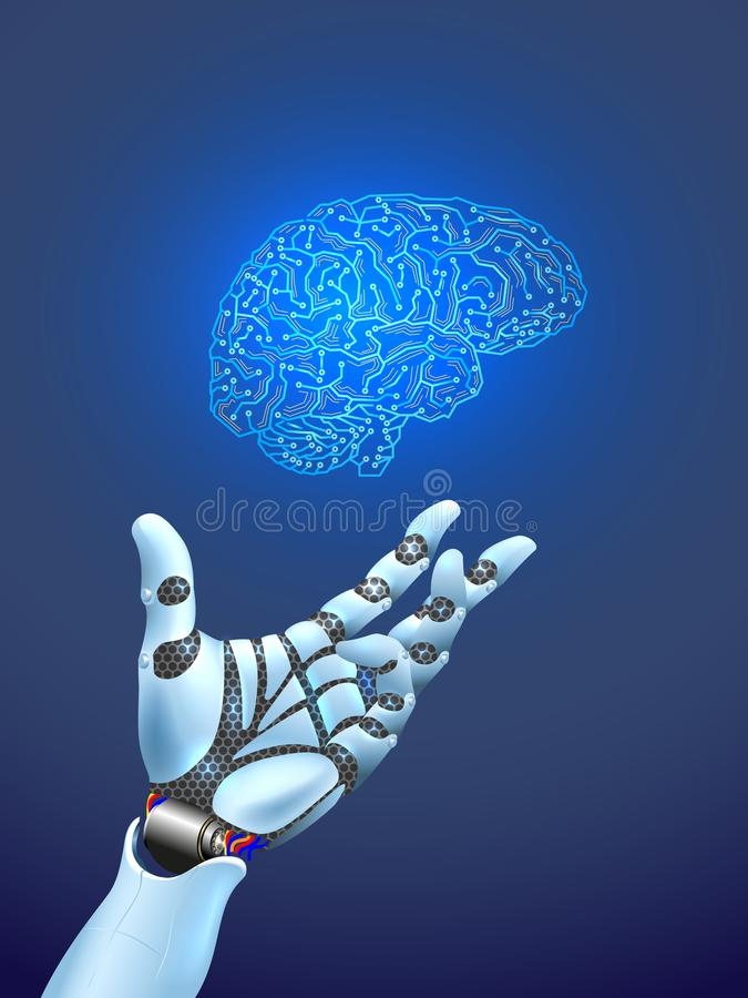 Robot arm and artificial intelligence royalty free illustration