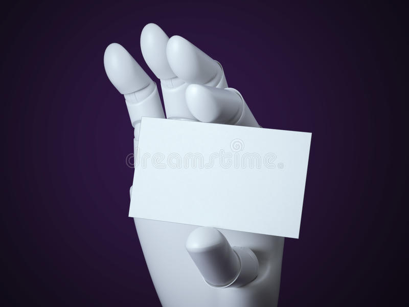 Robot arm with blank white business card stock illustration