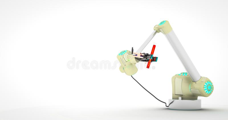 Robot arm holding vial with DNA robotic laboratory robot technology medicine research concept robotic science concept robot arm. Laboratory glassware DNA 3d royalty free stock photography