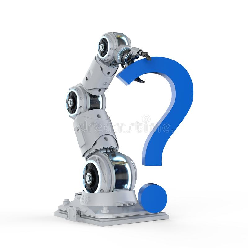 Robot arm with question mark stock illustration