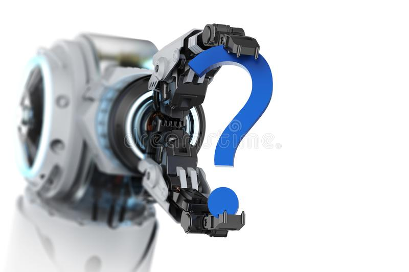 Robot arm with question mark. 3d rendering robot arm with blue question mark on white background vector illustration
