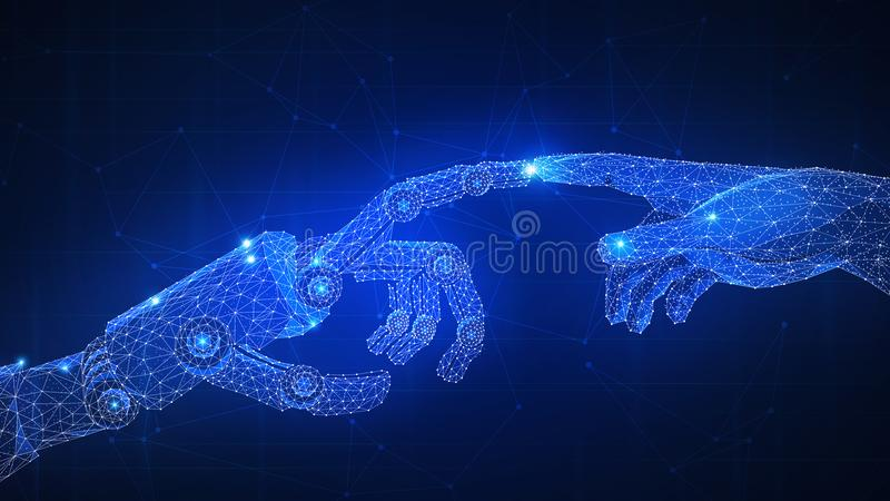 Robot arm is touching human hand. vector illustration