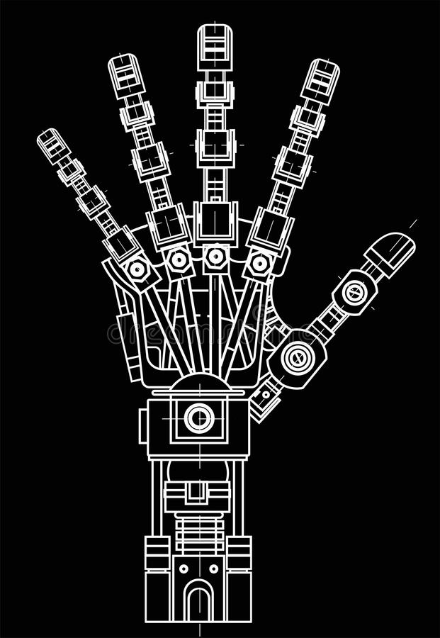 Robot arm. This vector illustration be used as an illustration of robotics ideas, artificial intelligence, bionic. The drawing model of the robot arm. It can be stock illustration